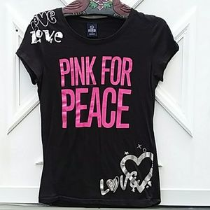 VICTORIA SECRET PINK FOR PEACE BLACK TEE